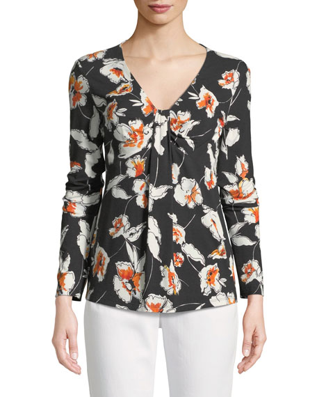 Modern Floral Jersey V-Neck Long-Sleeve Tee