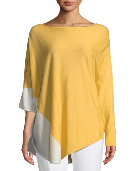 Jersey Knit Asymmetric Poncho Sweater, Light Orange