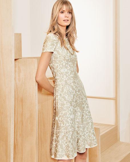 Gold-Leaf Brocade Short-Sleeve Flare Dress