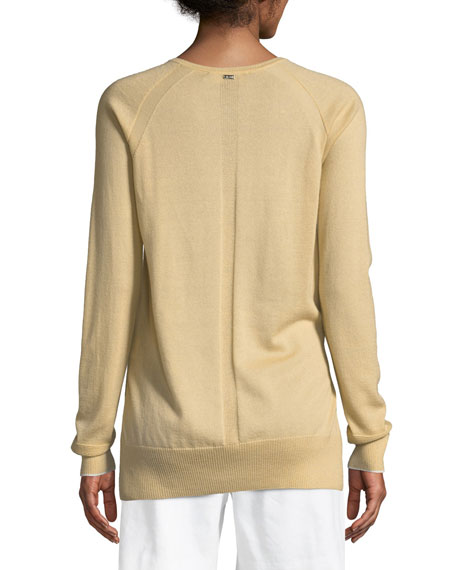 Cashmere Knit Raglan-Sleeve Sweater