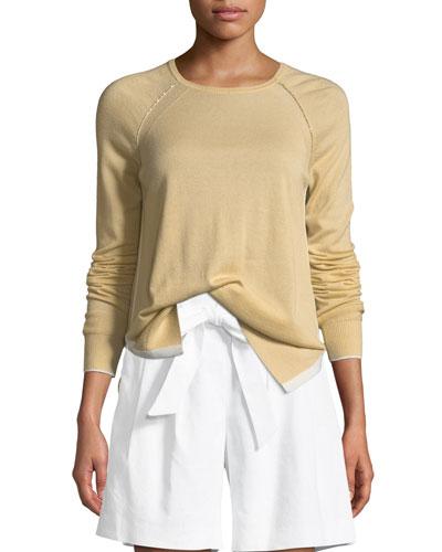 Cashmere Knit Raglan-Sleeve Sweater