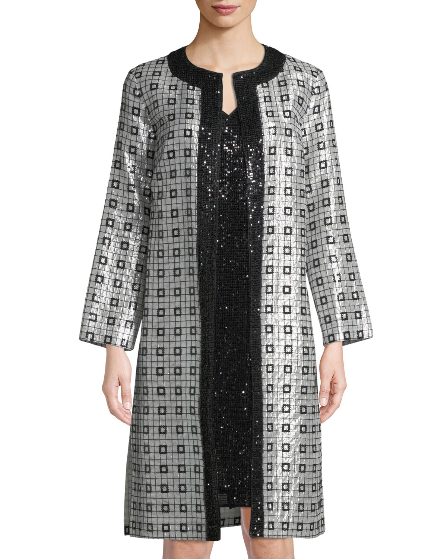 1bdce2987e7ac St. John CollectionMetallic Silk Chiffon Metallic-Embellished Topper Jacket