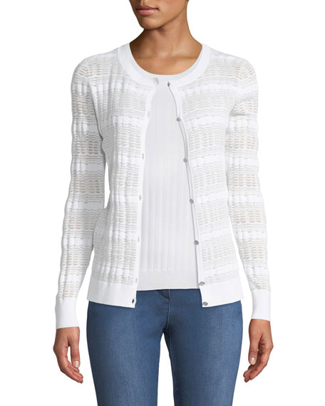 Monica Sheer-Knit Button-Front Cardigan