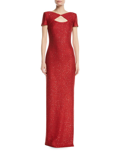 Glamour Sequin Knit Cutout-Front Gown