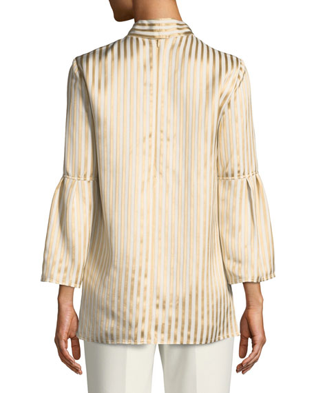Tie-Neck Striped Satin Twill Bell-Sleeve Blouse