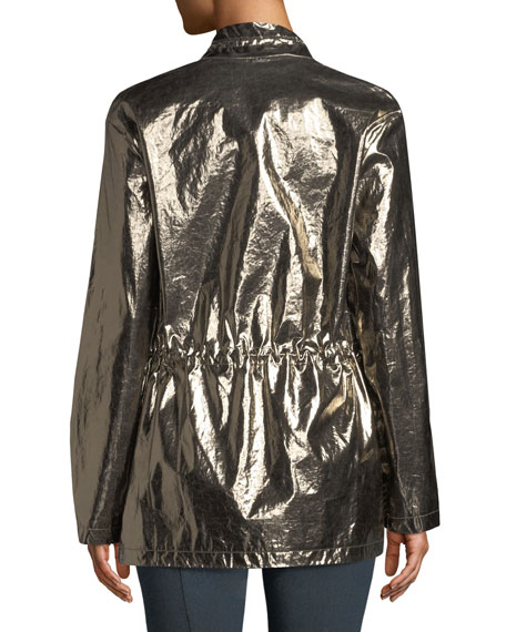 Laminated Metallic Outerwear Jacket