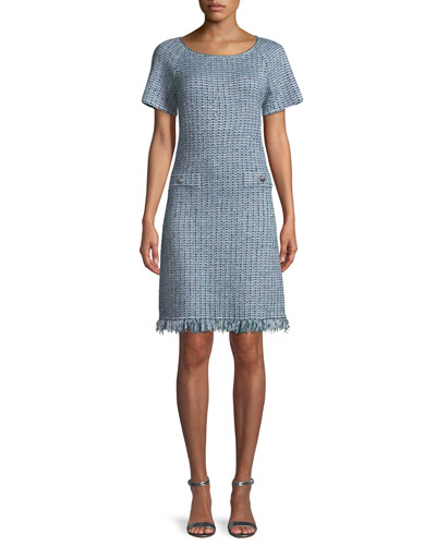 Micro-Check Knit Fringe-Hem Dress
