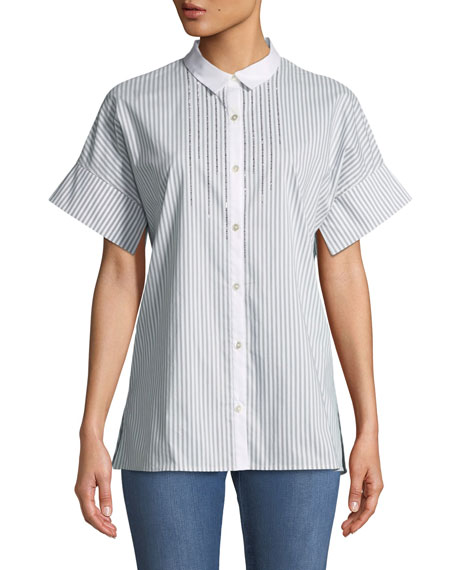 Short-Sleeve Striped Button-Down Shirt with Sequin Detail