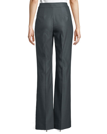 Fil a Fil Flare-Leg Suiting Pants