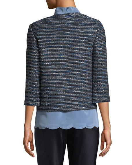 Twinkle Texture Knit 3/4-Sleeve Jacket