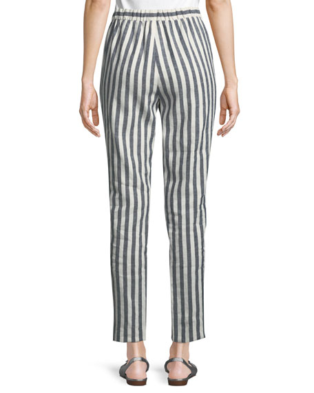 Stretch-Linen Stripe Twill Cropped Pant