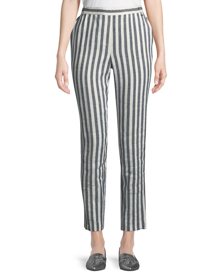 Stretch-Linen Stripe Twill Cropped Pant, Blue/White
