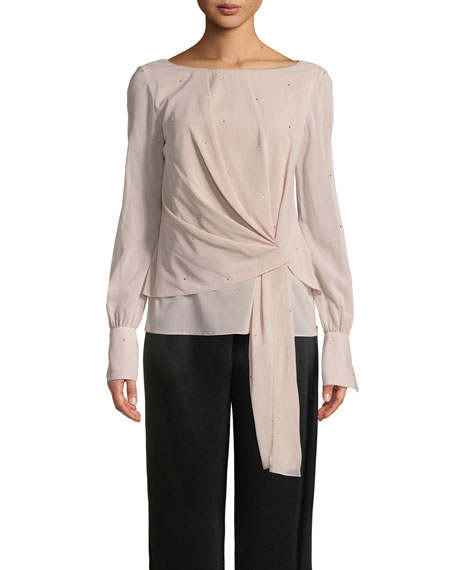 St. John Collection Silk Georgette Sequin Top
