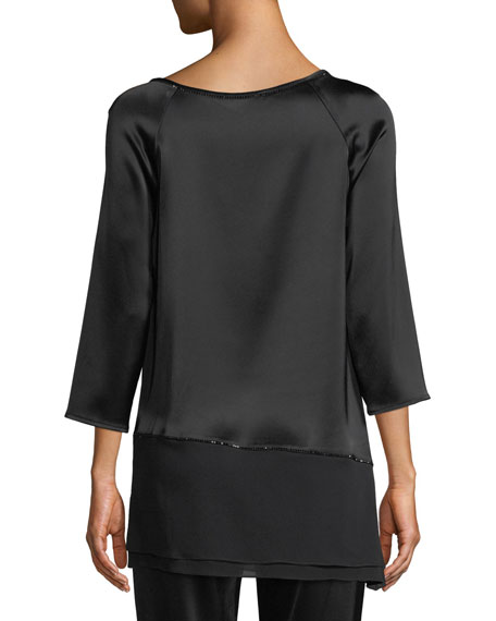 Liquid Satin Asymmetric Blouse