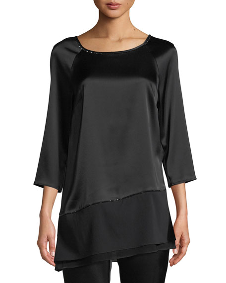 St. John Collection Liquid Satin Asymmetric Blouse