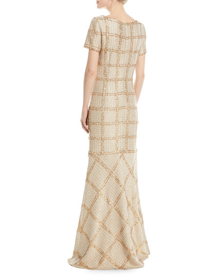Goldenflag Plaid Knit Sequin Gown