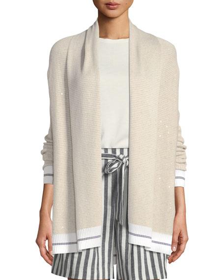 Sequin Linen Jacquard Knit Cardigan