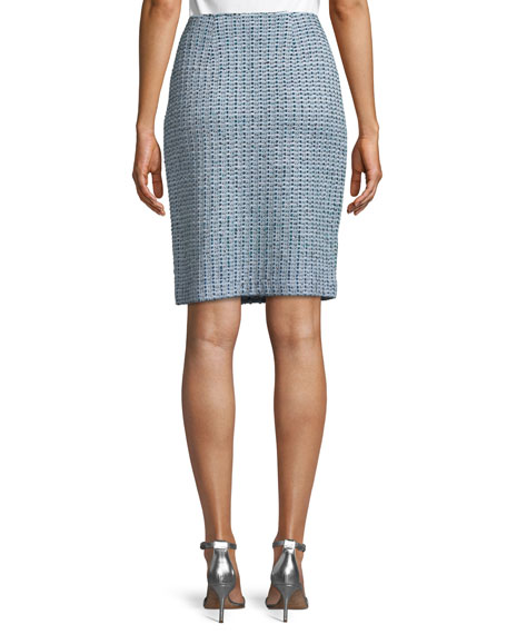 Micro-Striped Checked Knit Pencil Skirt