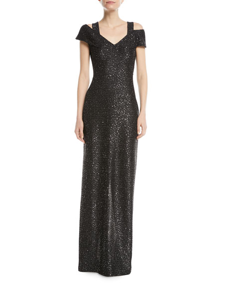 Sparkle Knit Sequin Cold-Shoulder Evening Gown