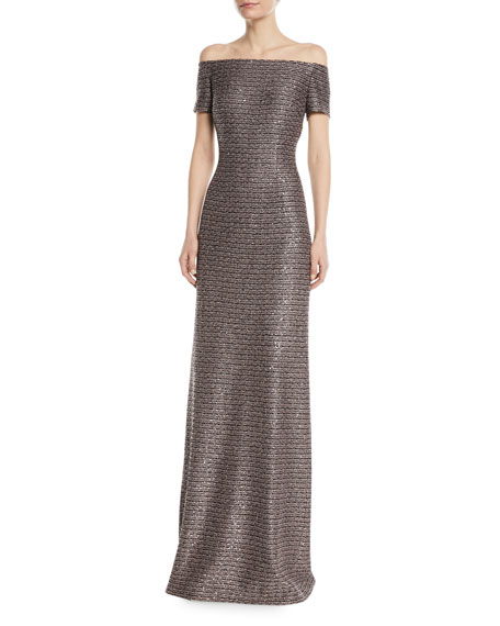 Twisted Sequin Knit Off-the-Shoulder Gown