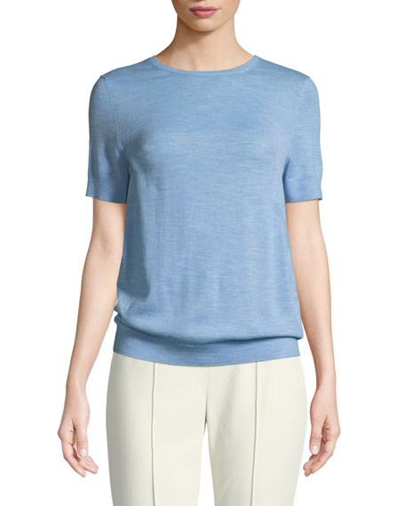 St. John Collection Jersey Knit Wool Short-Sleeve Sweater