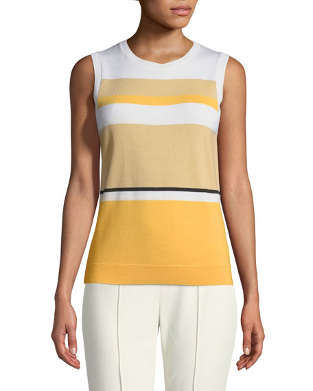 St. John Collection Jersey Knit Colorblock Wool Shell