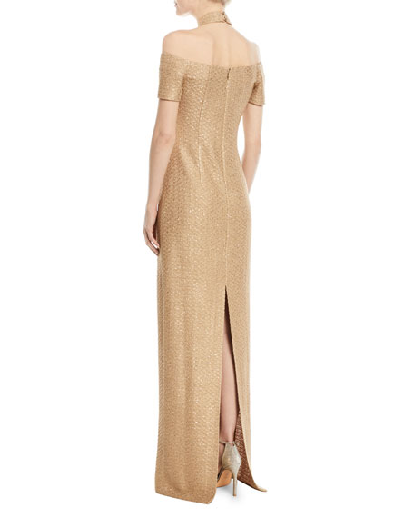Glimmer Knit Sequin 3/4-Sleeve Halter Gown