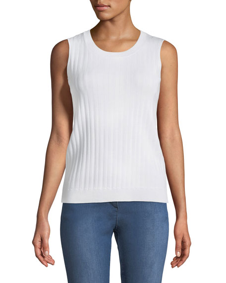 Monica Jewel-Neck Ribbed Shell