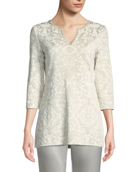 St. John Collection Gold Leaf Brocade Knit Tunic