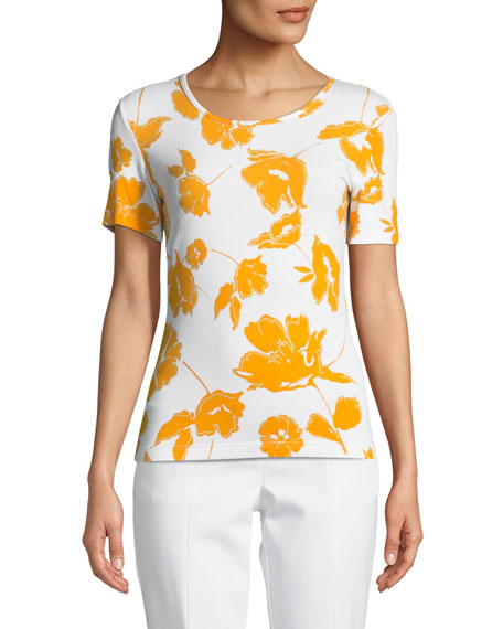 St. John Collection Outlined Painted Floral Jersey Top