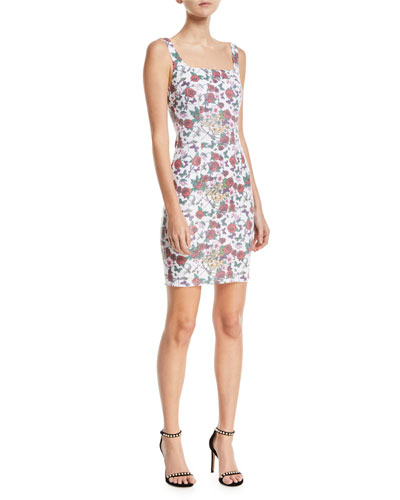 Sleeveless Sequin Floral Mini Cocktail Dress