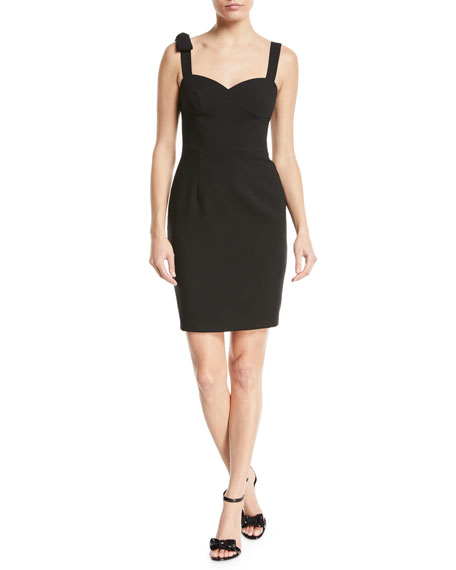 Black Halo Zahara Bow-Shoulder Sheath Mini Cocktail Dress