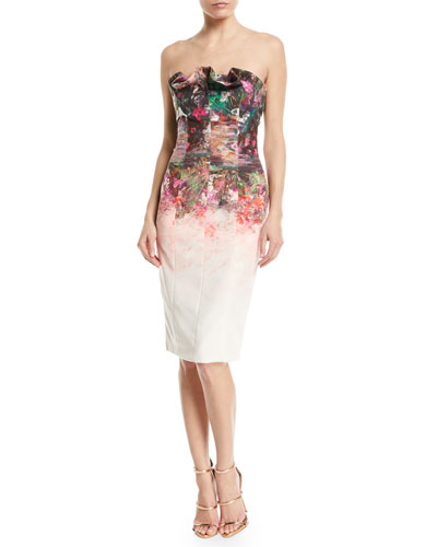 Allysandro Strapless Ruffle-Trim Cocktail Dress