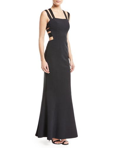 Krista Techno Crisscross Elastic Band Gown