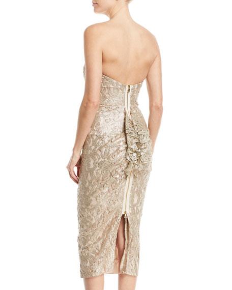Emily Strapless Metallic Lace Back-Ruffle Cocktail Dress