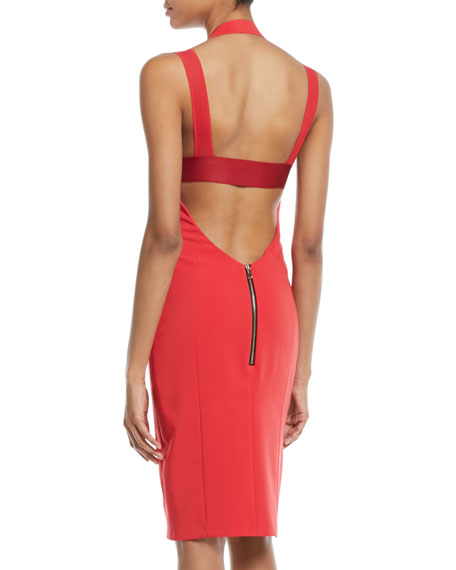 Kendra Techno Stretch Halter Cocktail Dress