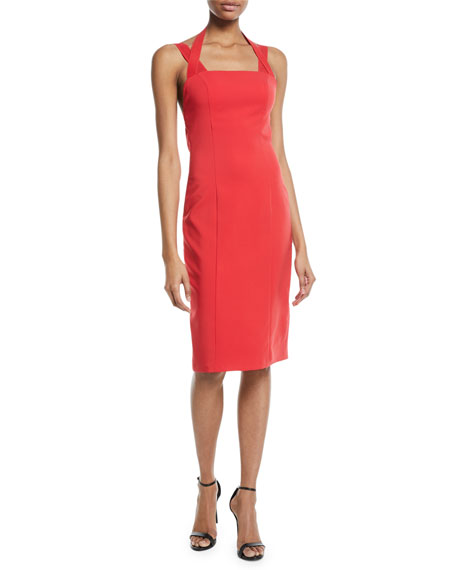 Maria Bianca Nero Kendra Techno Stretch Halter Cocktail