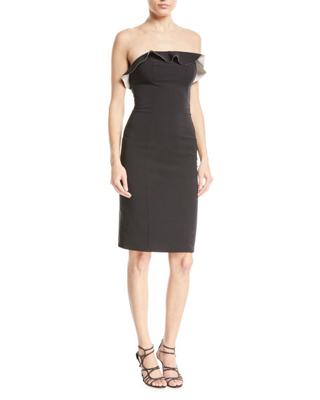 Maria Bianca Nero Stacey Techno Strapless Ruffle Cocktail