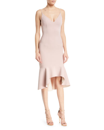 Christy Techno Sleeveless High-Low Cocktail Dress