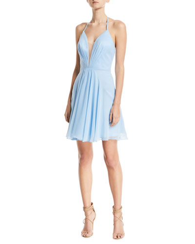 Pleated Lace-Up Mini Cocktail Dress