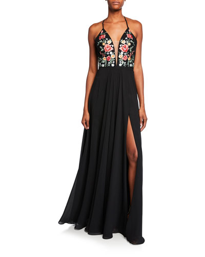 Chiffon Floral-Embroidered Lace-Up Gown