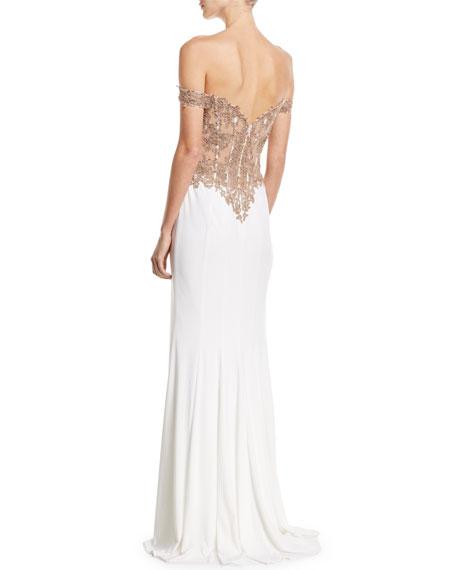 Off-the-Shoulder Embellished Jersey Column Gown