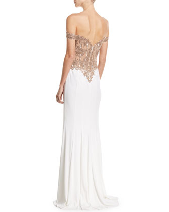 9f77e8141de Faviana Off-the-Shoulder Embellished Jersey Column Gown | Neiman Marcus