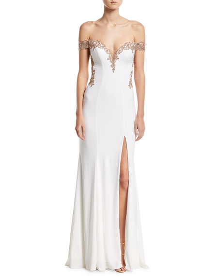 Faviana Off-the-Shoulder Embellished Jersey Column Gown