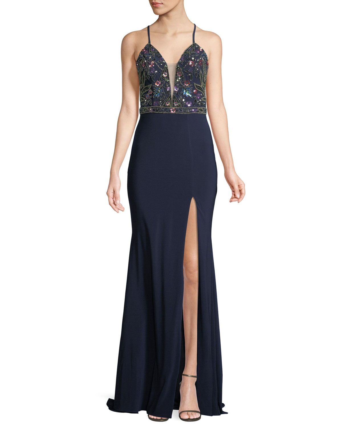 Faviana Embellished Lace-Up Jersey Gown | Neiman Marcus