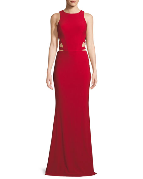 Faviana Sleeveless Gown w/ Side Cutouts