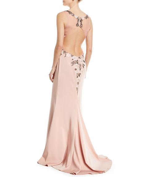 Faille Satin V-Neck Lace Applliqué Dress
