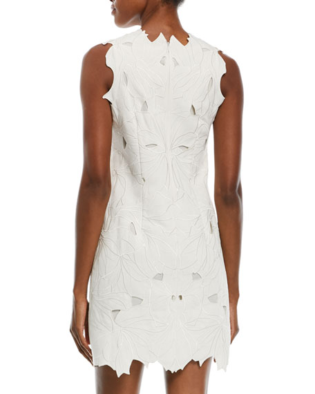 Embroidered Scalloped Mini Cocktail Dress
