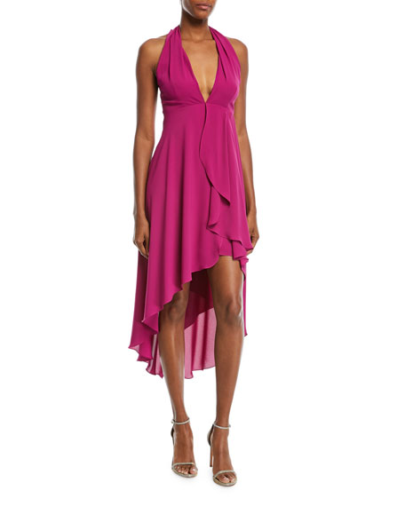 High-Low Halter Cocktail Dress