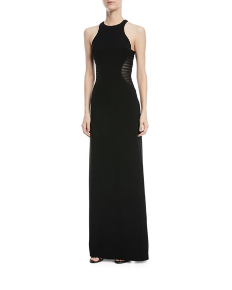Side Striped Applique Halter-Neck Gown